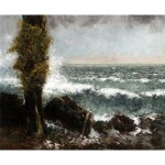 Seascape, the poplar-Gustave Courbet